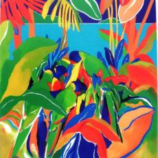 ヘレン・ウィルシャイアー作リトグラフ『Paradise and Parrots』サムネイル