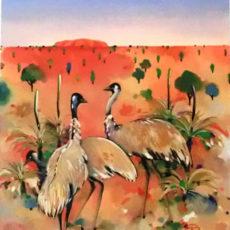 ヘレン・ウィルシャイアー作リトグラフ『Emus at Uluru』サムネイル