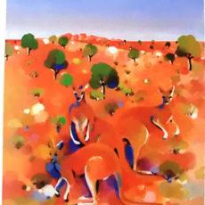ヘレン・ウィルシャイアー作リトグラフ『Kangaroos』サムネイル
