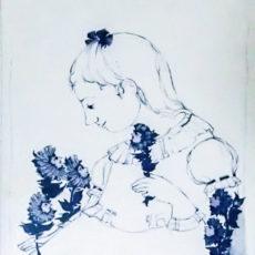 ヴィヨン・ヴィンブラッド陶板『花と少女』 サムネイル
